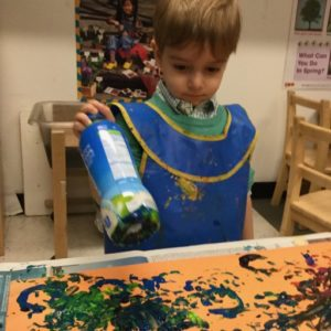 Repurposing recycled water bottles as...paint stampers!