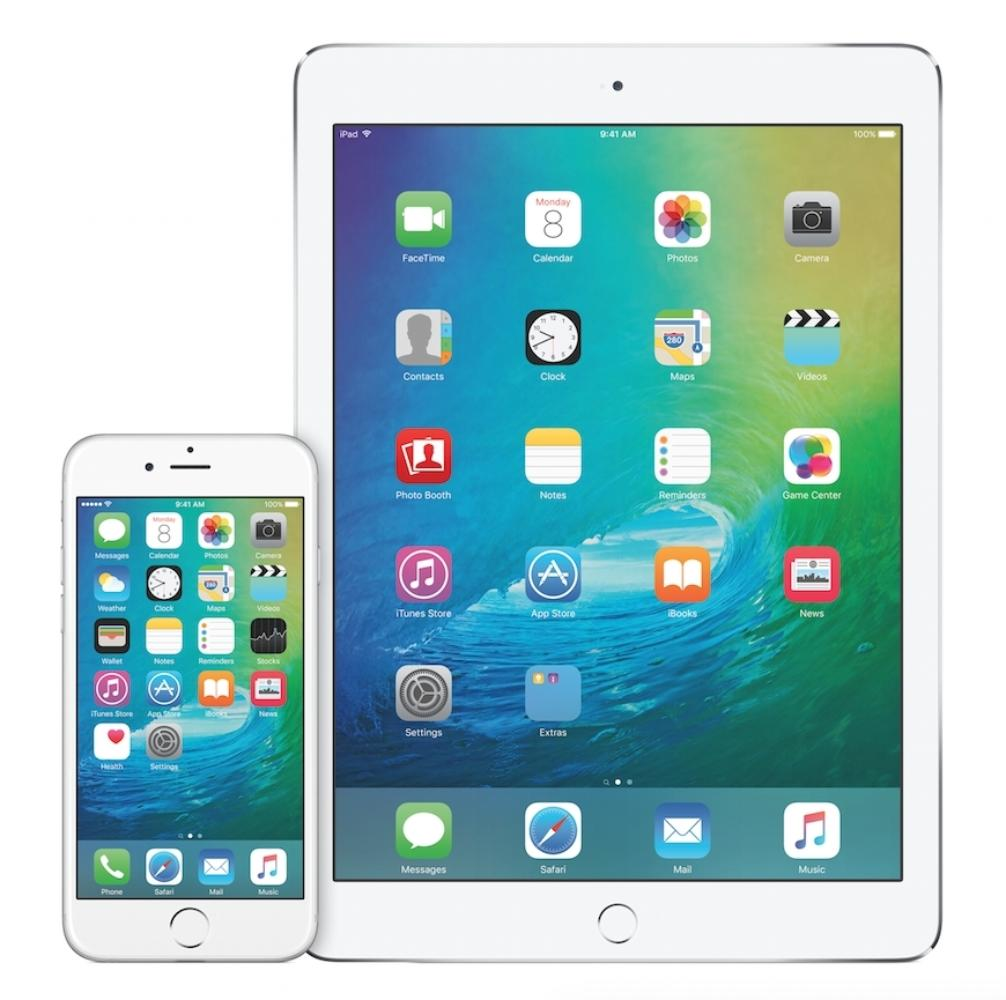 Apple iPad and iPhone with iOS 9 loaded on screen