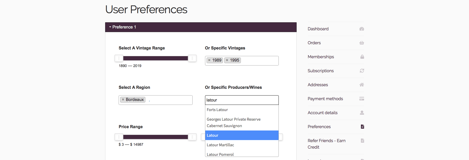 Wine Preferences Brings Personalize Website Experience for Wine Buying