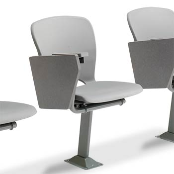 this lecture room chair is designed with a onepiece polymer shell and a large folding writing tablet it is available for floor mounting riser mounting
