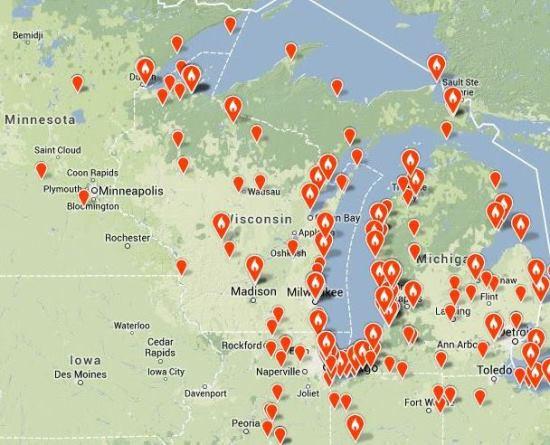 Figure 2. eBird map of Snowy Owl sightings in the western Great Lakes, Nov-Dec 2013 (as of Dec 9).