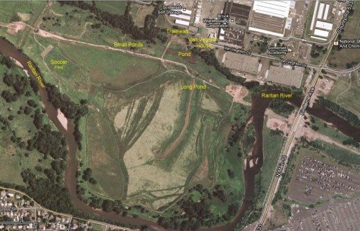 Map of Finderne Wetlands, Bridgewater, Somerset County NJ