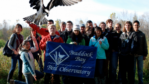Birding Club field trip with Mega Osprey. Photo (and photoshop) by Sarah MacLean.