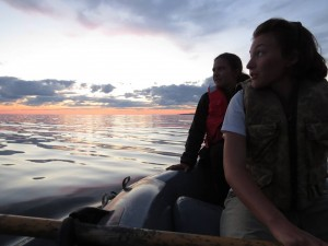 Taking a row at sunset with Taylor Hale and SJ Kwiatkowska after a long day of tern feeding studies and puffin productivity.