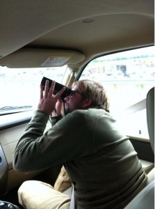 Fig. 3. Brian Sullivan scans for raptors from his shotgun perch -- his efforts were well worth it!