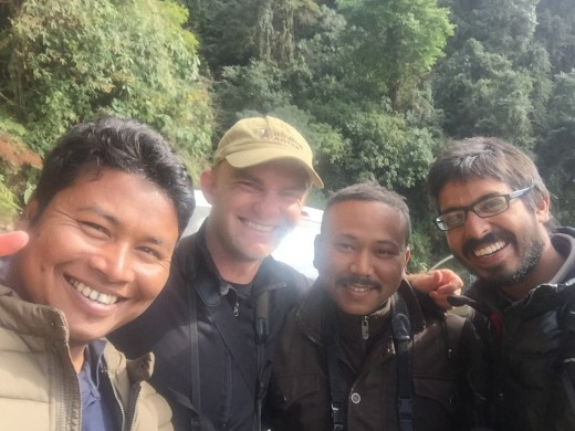 Noah and friends after seeing year bird #6,000 in India on Dec 29.