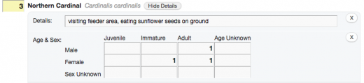 Add age and sex information for any birds in eBird