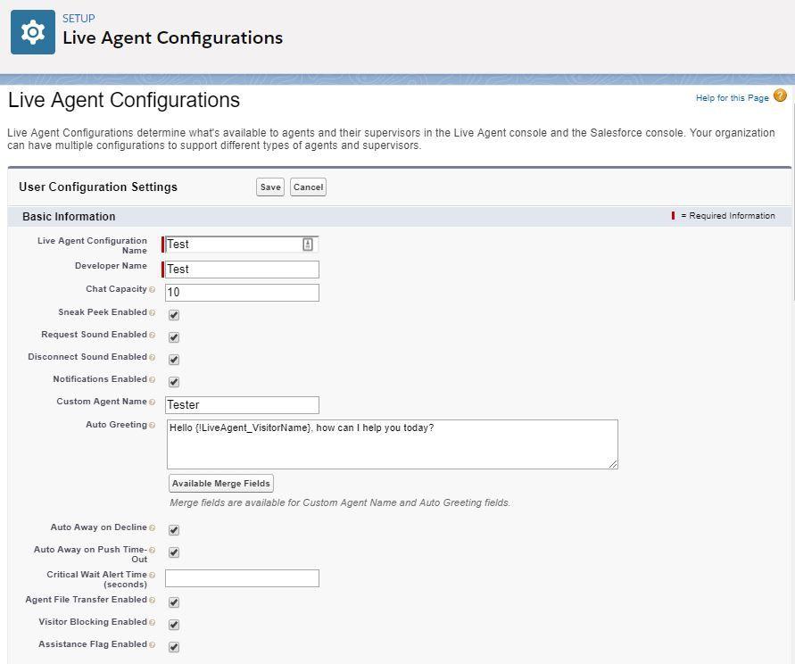 live-agent-configuration