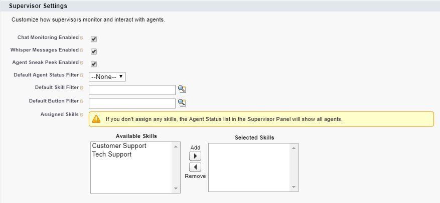 live-agent-supervisor-settings