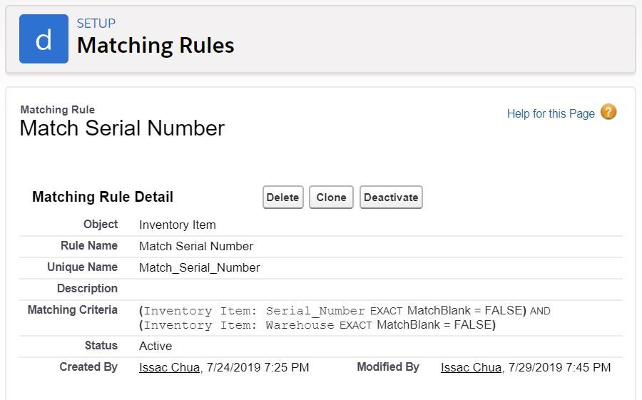 serial-number-matching-rule