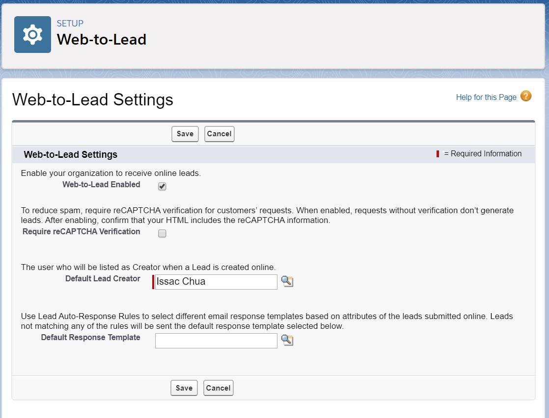 web-to-lead-settings