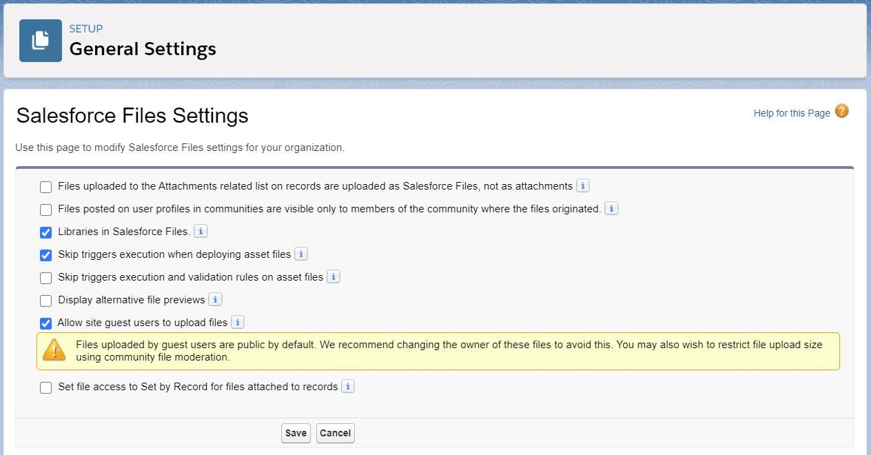 salesforce-files-settings
