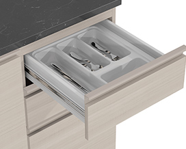 Drawers with telescopic slide and organizer - Itatiaia Wooden Kitchen Belíssima