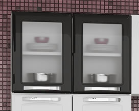 Optional wall cabinets with glass door - Kitchen Steel Itatiaia Itanew