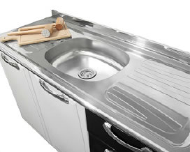 Stainless steel sink with rounded front edge - Kitchen Steel Itatiaia Itanew