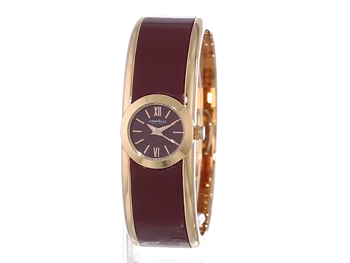 Caravelle-New-York-Women-039-s-Round-Two-Tone-Bangle-Watch