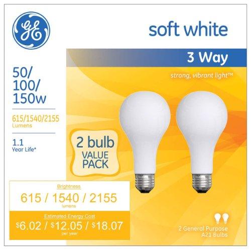 Ge Soft White 3 Way 50 100 150 Watt A21 2 Pack