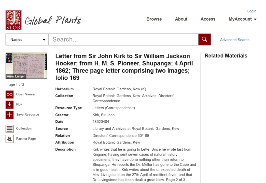 JSTOR Global Plants screenshot