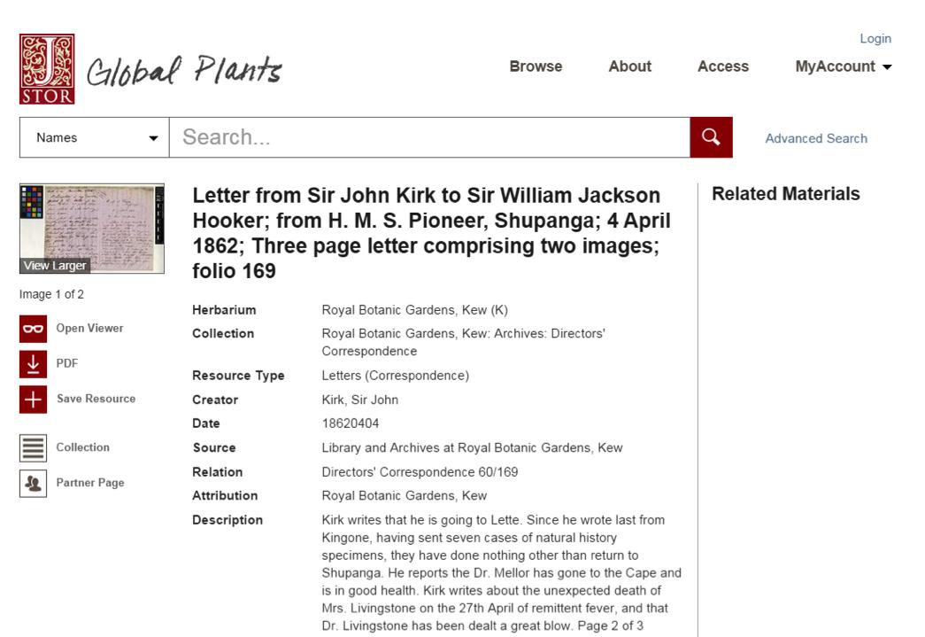 JSTOR Global Plants screenshot
