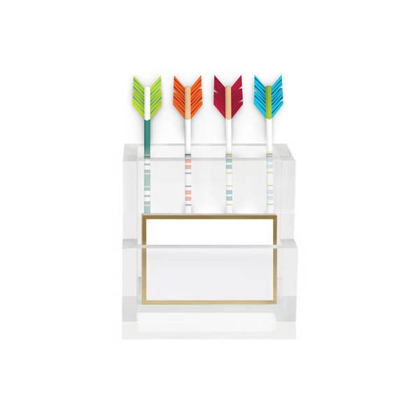 Lucite Pencil Holder & Pencils