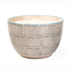paddywax sea salt & sage candle in blue and white printed ceramic bowl