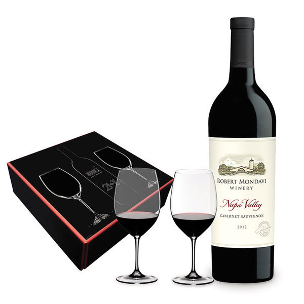 Robert Mondavi Cabernet + Two Riedel Glasses Gift Box