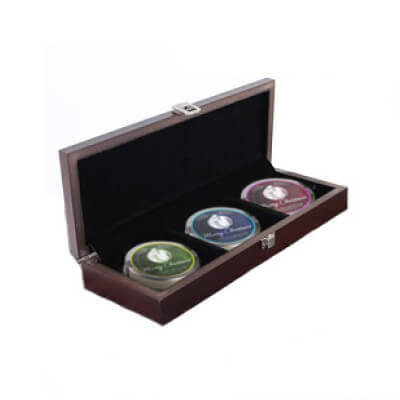 3 Tea Mini Tins in Luxury Wooden Chest