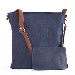Denim Crossbody Sling Bag and Matching Pouch