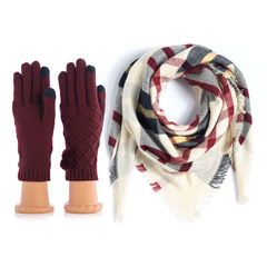 Fall Scarf and Gloves Set