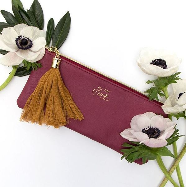 Vegan Leather Tassel Pouch