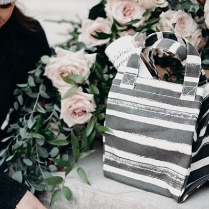 Striped Lunch Tote