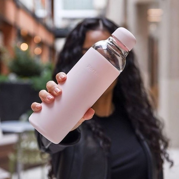 20 oz Glass and Silicone Water Bottle