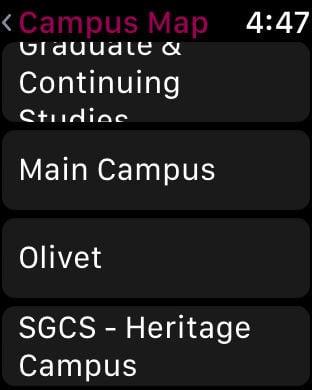 Olivet Campus Map.Apple Watch App Watchaware