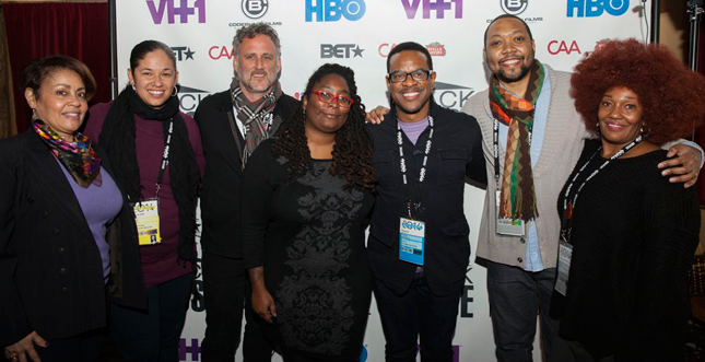 Kamal Sinclair, Sr. Manager Sundance New Frontier Story Lab; Jim Sommers, Sr. Vice President of Content at ITVS; N'Jeri Eaton, Programming Manager at ITVS; Thomas Allen Harris, Through A Lens Darkly and Digital Diaspora Family Reunion; Shukree Tilghman, More Than A Month and More Than A Mapp app; Kay Shaw, Director of Public Media Corps at NBPC