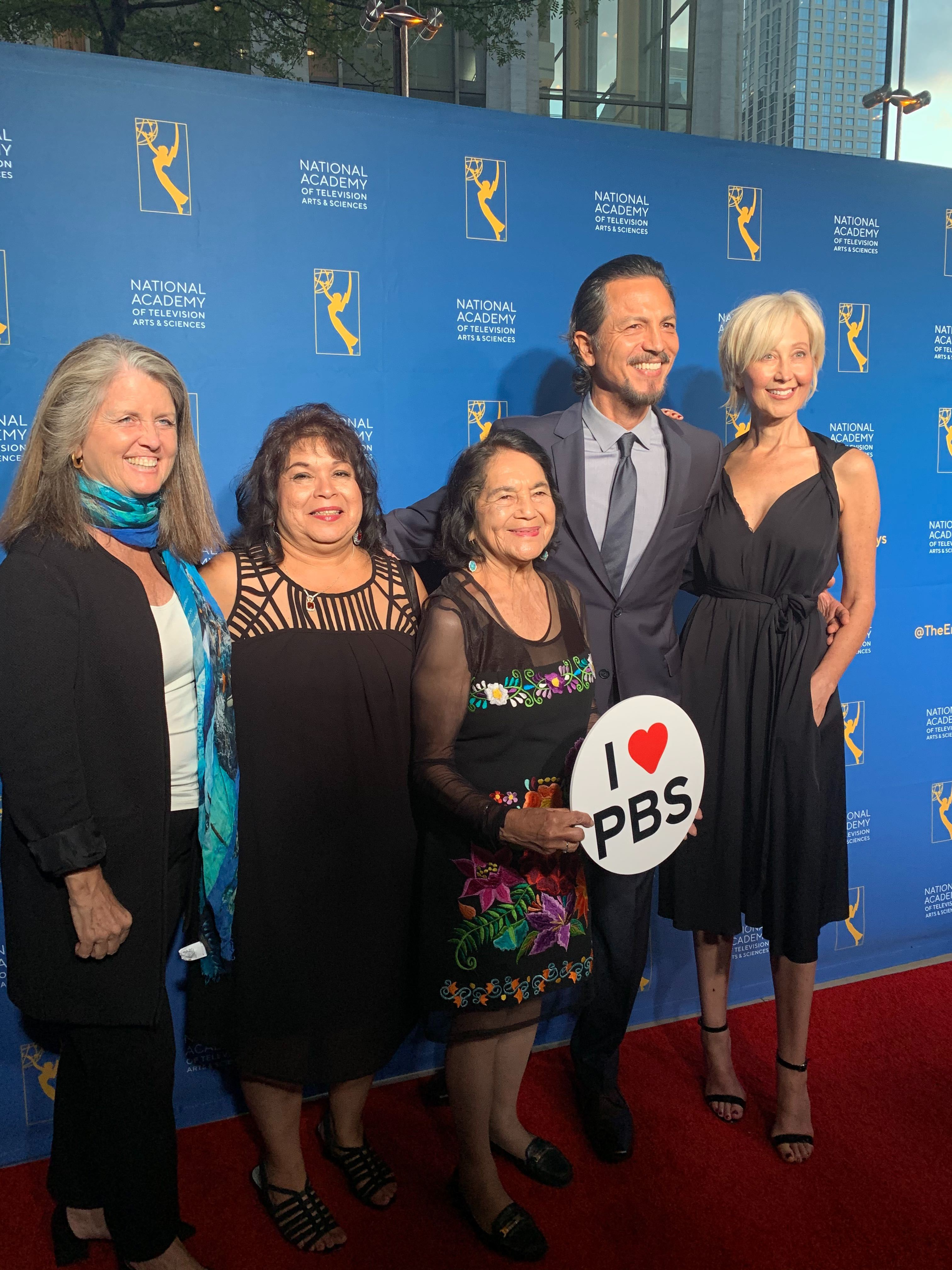 The team from Dolores, including Dolores Huerta herself, and director Peter Bratt