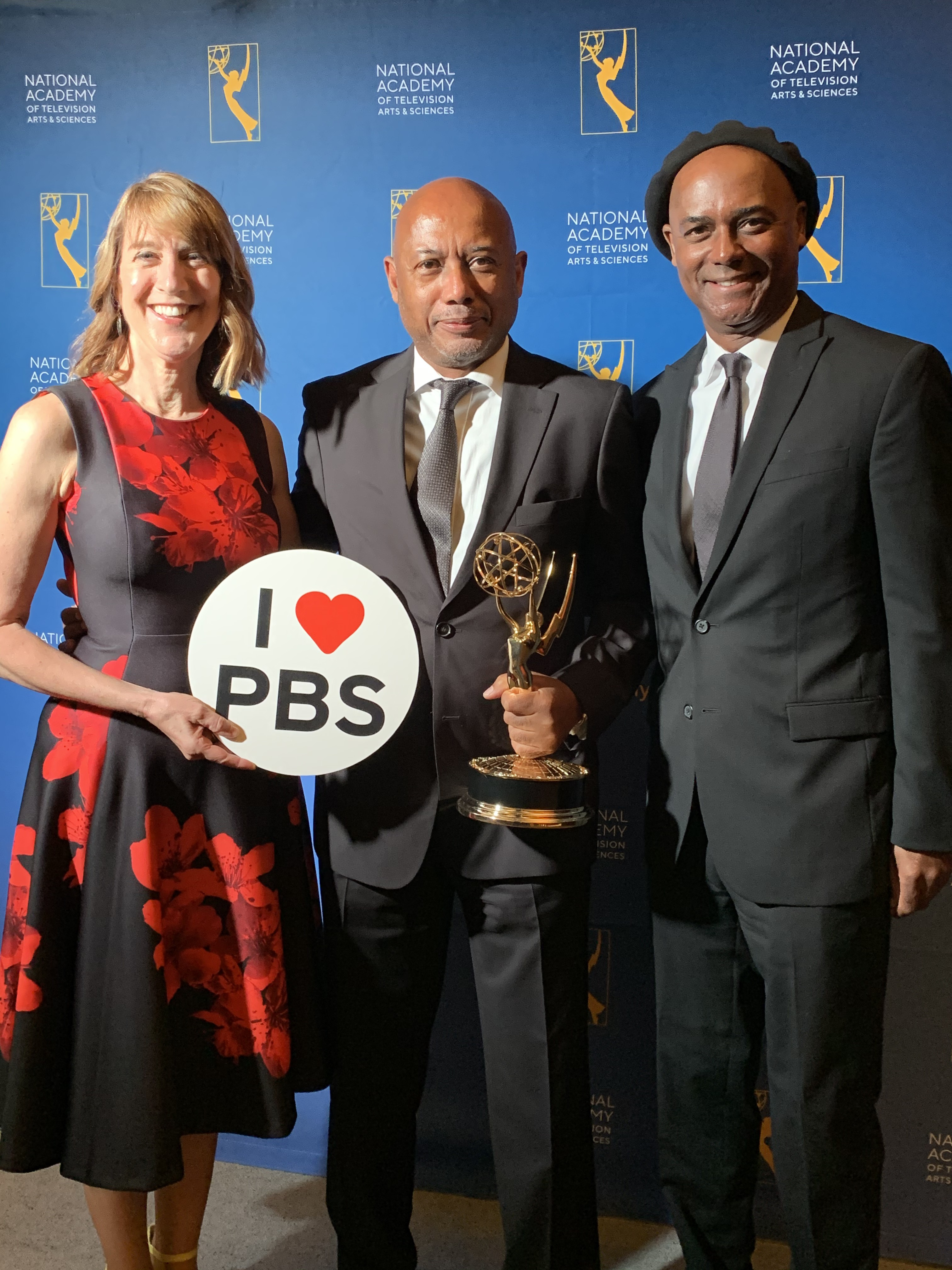 Lois Vossen with Raoul Peck and Herbert Peck for I Am Not Your Negro Emmy win