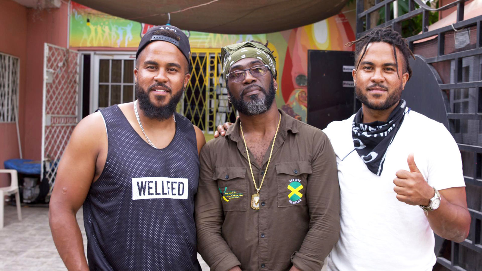 The Brodie brothers with Orville (center), dancehall professor