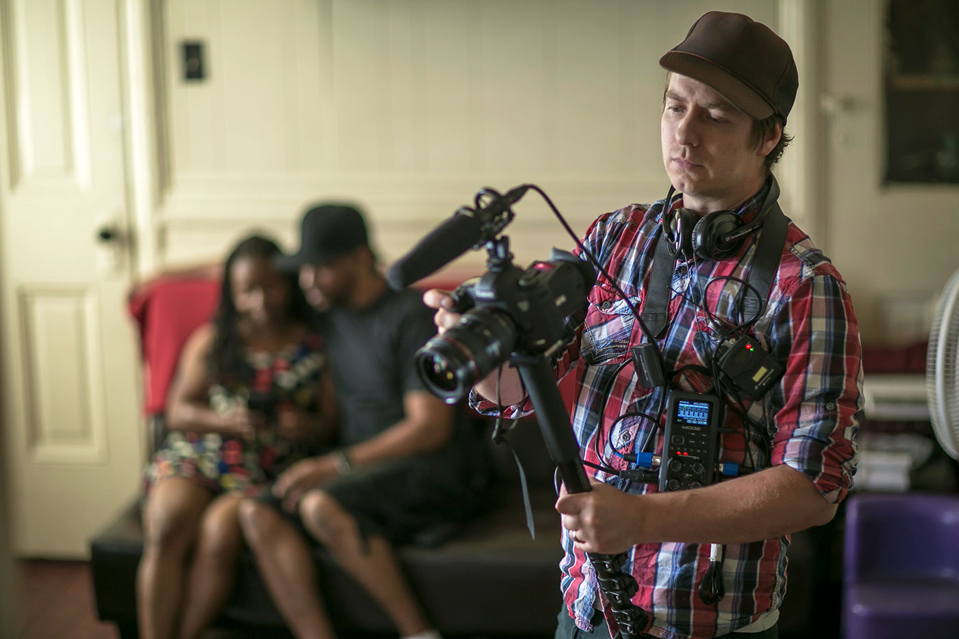 filmmaker Jon Olshefski working on QUEST