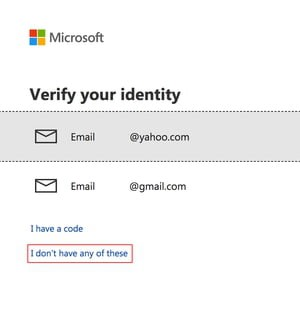 microsoft email verification screen