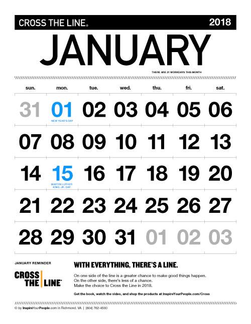 InspireYourPeople.com Monthly Calendar January 2018