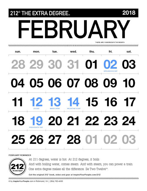 InspireYourPeople.com Monthly Calendar February 2018