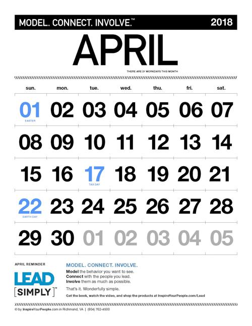 InspireYourPeople.com Monthly Calendar April 2018