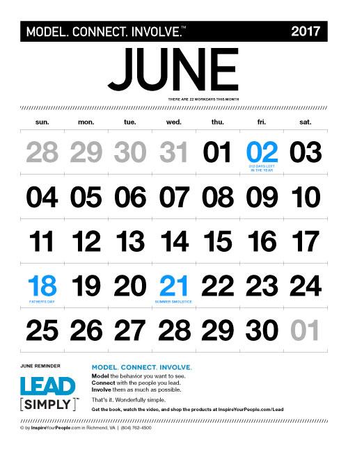 InspireYourPeople.com Monthly Calendar June 2017