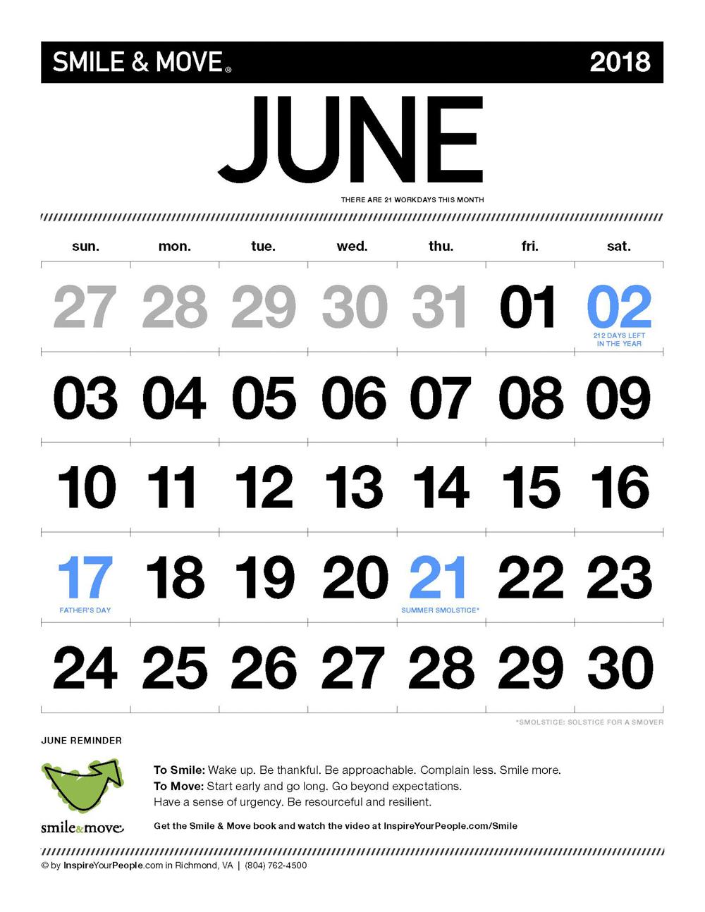 InspireYourPeople.com Monthly Calendar June 2018