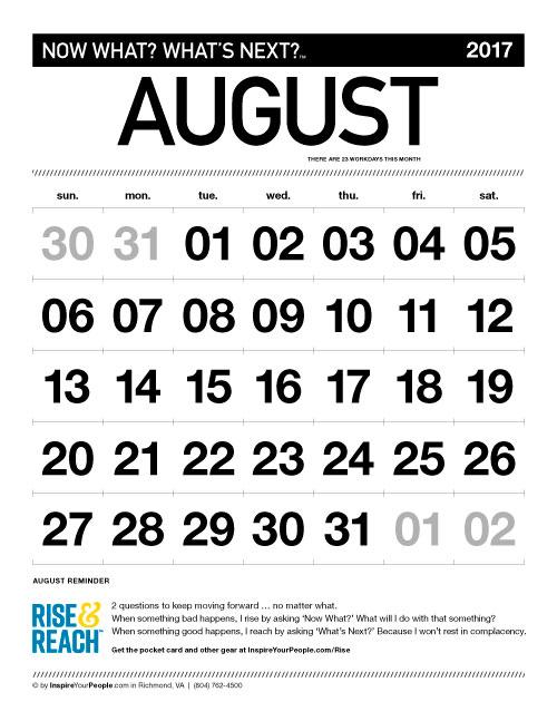 InspireYourPeople.com Monthly Calendar August 2017