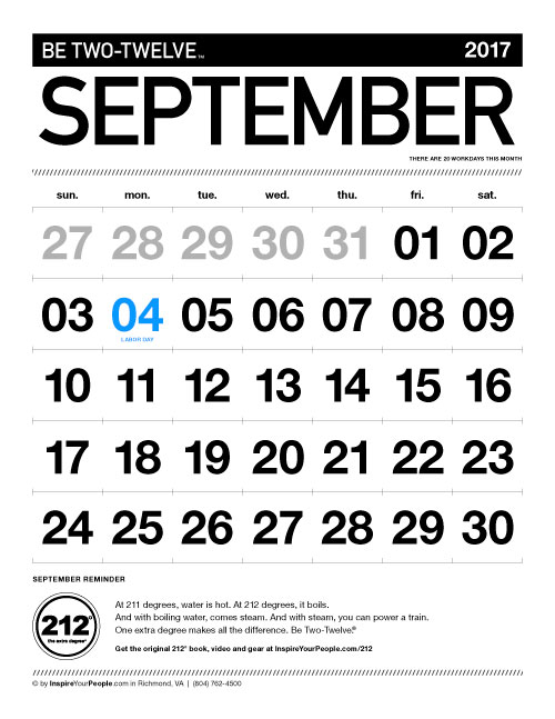InspireYourPeople.com Monthly Calendar September 2017