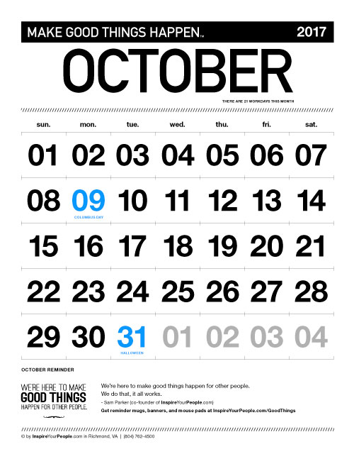 InspireYourPeople.com Monthly Calendar October 2017