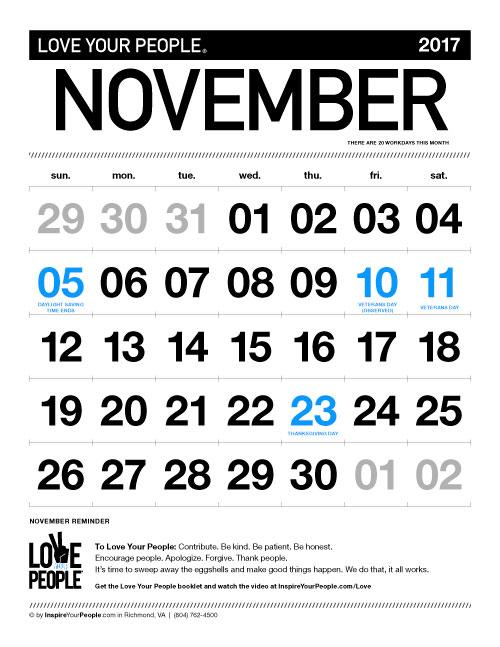 InspireYourPeople.com Monthly Calendar November 2017