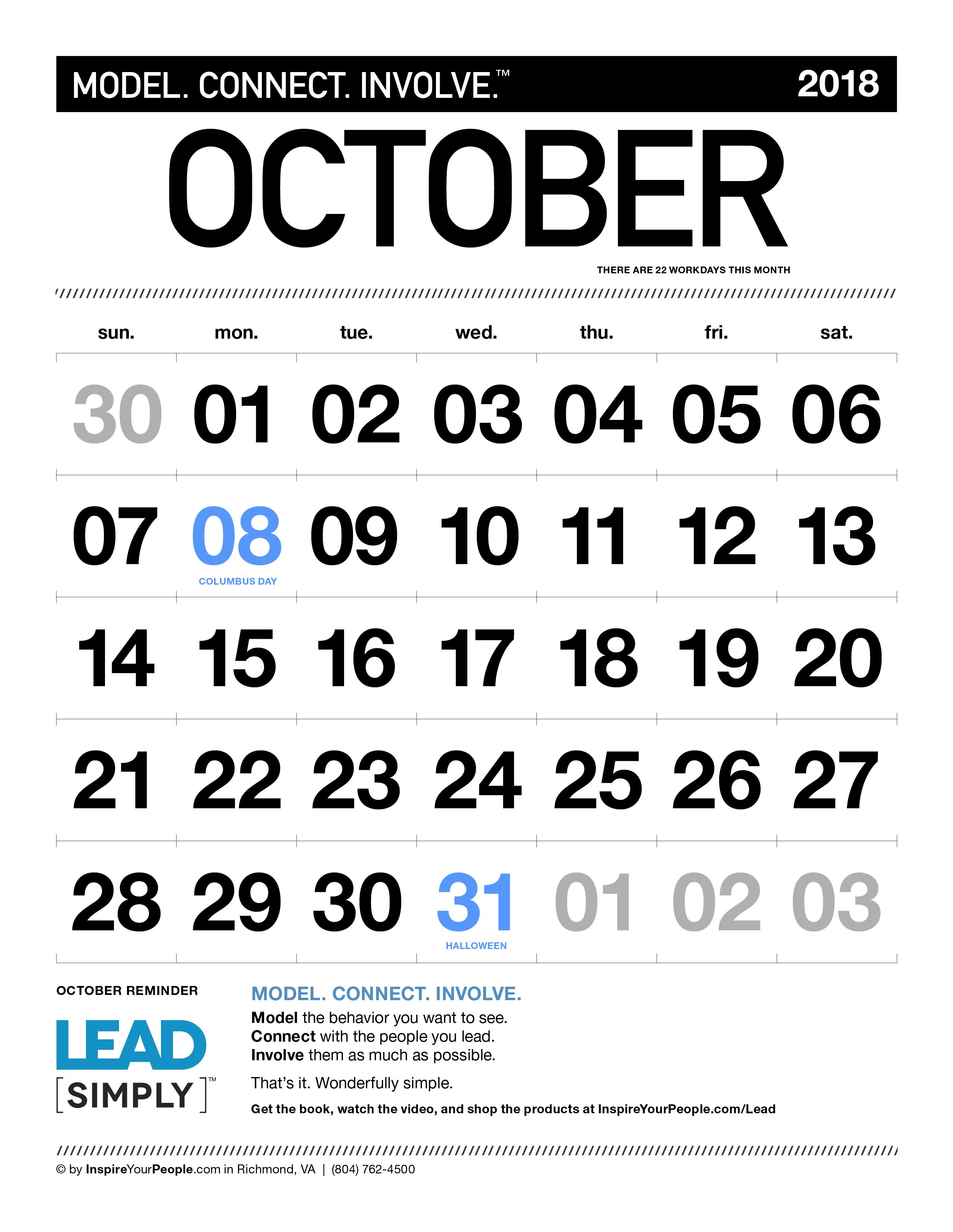 InspireYourPeople.com Monthly Calendar October 2018