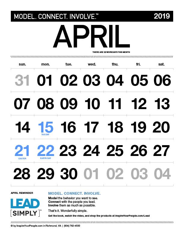 InspireYourPeople.com Ежемесячный календарь апрель 2019